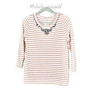 J. Crew Striped Jewel Neckline 3/4 Sleeve Blouse